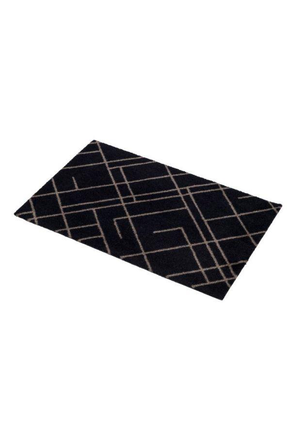 00705 polyamid 40x60 Lines Black/sand