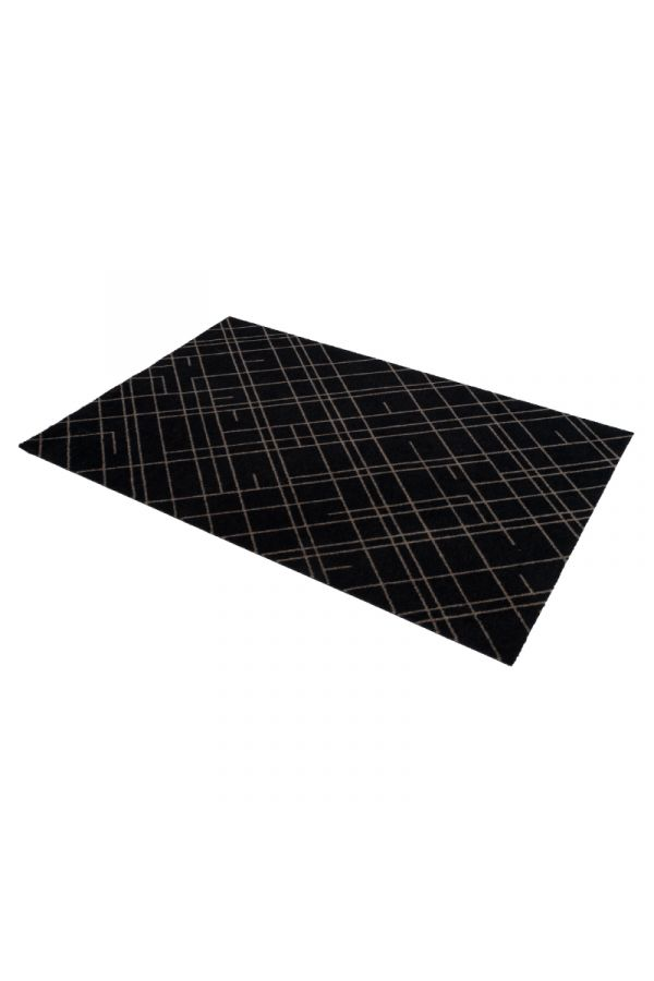00698 polyamid 90x130 Lines Black/sand