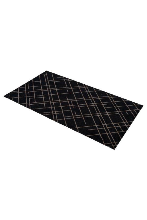 00697 polyamid 67x120 Lines Black/Sand